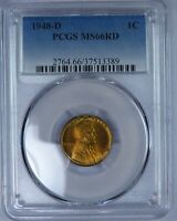 1948-D LINCOLN CENT. PCGS MINT STATE 66RD. ET614/CRN