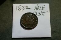 1832 CLASSIC HEAD HALF CENT OLD US COPPER COIN