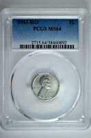 1943 D/D 1C LINCOLN STEEL WHEAT CENT PCGS MINT STATE 64