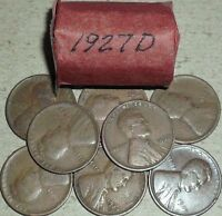ROLL OF 20 1927 D CIRCULATED LINCOLN WHEAT CENT COINS PENNIES