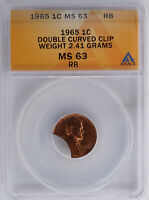 1965 LINCOLN CENT DOUBLE CURVED CLIP 2.41 GRAMS ANACS MS63RB