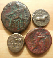 AMAZING VF LOT OF 4 GREEKS  23MM TETRADRACHM AZES II DRACHM GONATAS MARONEIA