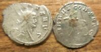 LOT OF 2 SILVER ANTONINIANUS COINS OF GALLIENUS LARGER IS 24.5 MM ZOO SERIES