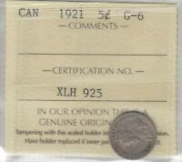 1921 CANADA FIVE CENTS   KEY DATE SILVER COIN   ICCS G 6