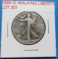 1934-D  WALKING LIBERTY HALF DOLLAR FOR COLLECTION COMBINED SHIPPING  LOT 201