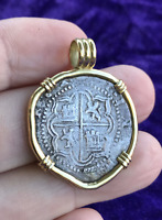 ATOCHA 2 REALES GRADE 1  NO COA  14KT PENDANT PIRATE GOLD COINS JEWELRY NECKLACE