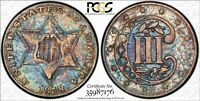 1858 3 CENT SILVER PCGS SECURE XF45 BEAUTIFUL RAINBOW TONING