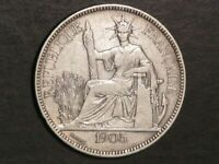FRENCH INDO CHINA 1905A 1 PIASTRE SILVER CROWN VF