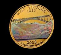 2005 D WEST VIRGINIA STATE QUARTER // 24K GOLD PLATED   HOLO