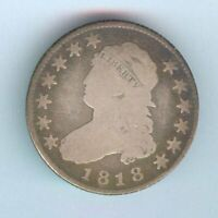 1818 U.S. CAPPED BUST QUARTER   SILVER   GOOD