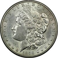 1899-S MORGAN SILVER DOLLAR $1, ABOUT UNCIRCULATED AU