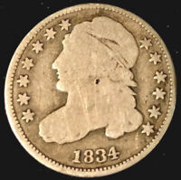 1834 EARLY CAPPED BUST 10 CENT COIN