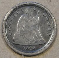 1842-O SEATED LIBERTY DIME SMALL O FORTIN 104A  OBV. CUD EXTRA FINE  R-6