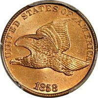 1858/7 STRONG 1C  SNOW-1 FLYING EAGLE CENT PCGS MINT STATE 64 PHOTO SEAL/CAC