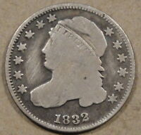 1832 CAPPED BUST DIME DECENT LOWER GRADE COIN WITH AN OLD CLEANING