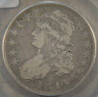 1814 O-105A SINGLE LEAF CAPPED BUST HALF ANACS VF20