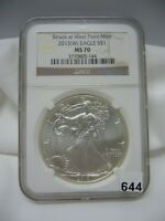 2013W SILVER EAGLE NGC MS 70 STRUCK AT WEST POINT BROWN LABEL TOP POP 14,296