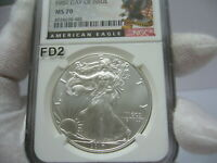 2017 SILVER EAGLE NGC MS-70 FIRST DAY OF ISSUE AMERICAN EAGLE LABEL