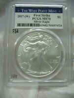 2017 W SILVER EAGLE PCGS MS-70 FIRST STRIKE THE WEST POINT MINT LABEL