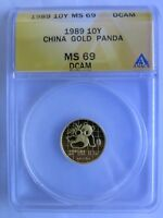 1989 1/10 OZ CHINA GOLD PANDA ANACS MINT STATE 69 DCAM 10 YUAN LARGE DATE CHINESE COIN