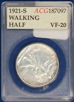1921-S WALKING LIBERTY HALF IN OFF BRAND HOLDER. ET1084A/BUH