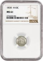 1830 H10C CAPPED BUST SILVER HALF DIME NGC MINT STATE 61