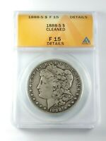 CIRCULATED 1888-S MORGAN SILVER DOLLAR GRADED BY ANACS F-15 DETAILS-CLEANED