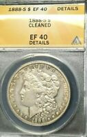 1888-S  MORGAN SILVER DOLLAR EXTRA FINE  DETAILS SCARE CERTIFIED BY ANACS