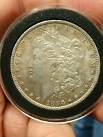 1896-P MORGAN VAM 28 LOW SLANTED DATE VARIETY SILVER ONE DOLLAR COIN