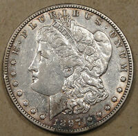 1897-O MORGAN DOLLAR EXTRA FINE /AU GOOD LUSTER WITH LIGHT CIRCULATION SCRATCHES/MARKS