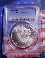 1885-O MORGAN SILVER DOLLAR  PCGS MINT STATE 63PL - BRIGHT WHITE FINISH - PLUS FREE COIN
