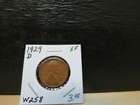 1929 D EXTRA FINE  LINCOLN WHEAT CENT LOT W258