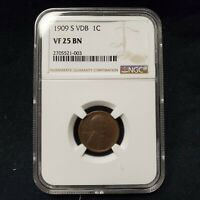 1909 S VDB LINCOLN WHEAT CENT 1 COPPER NGC VF25 BN KEY DATE