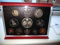1997 ROYAL MINT DELUXE PROOF COIN SET 5 - 1P RED LEATHER CASE COA AUCTION