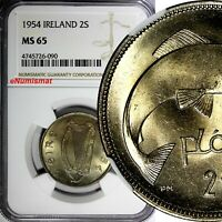 IRELAND REPUBLIC 1954 FLORIN 2 SCILLING NGC MINT STATE 65 SALMON GEM BU KM 15A
