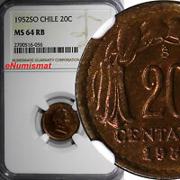 CHILE COPPER 1952-SO 20 CENTAVOS NGC MINT STATE 64 RB TOP GRADED BY NGC KM 177