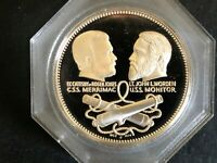 BATTLE OF THE IRON CLADS , 1974 STERLING SILVER ROUND NCS FRANKLIN MINT