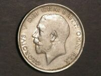 GREAT BRITAIN 1914 1/2 CROWN GEORGE V SILVER VF
