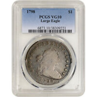 1798 US DRAPED BUST SILVER DOLLAR $1 - LARGE EAGLE - PCGS VG10