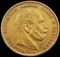 1878 A GOLD GERMAN STATE PRUSSIA 10 MARK COIN
