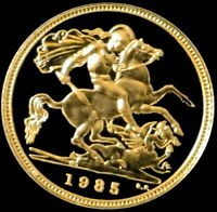 1985 GOLD GREAT BRITAIN 3.99 GRAMS GEM PROOF 1/2 SOVEREIGN C