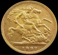 1897 GOLD GREAT BRITAIN 1/2 SOVEREIGN 3.99 GRAMS MATURE BUST