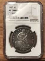 1867 LIBERTY SEATED DOLLAR NGC AU DETAILS
