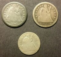 LOT OF 3 SEATED LIBERTY SILVER DIMES 1838 HALF DIME 1852 & 1