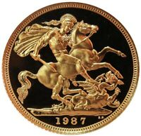 1987 GOLD GREAT BRITAIN 3.99 GRAMS 1/2 SOVEREIGN COIN GEM PR