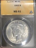 1922 PEACE SILVER DOLLAR -  MINT STATE 61 - ANACS