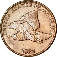 1858/7 1C SNOW-7 FLYING EAGLE CENT AUCLEANED  K8691