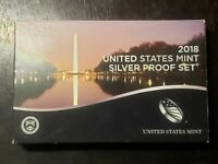 2018 S US MINT SILVER PROOF SET WITH BOX/COA     US COINS
