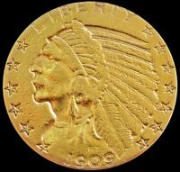 1909 GOLD US $5 DOLLAR INDIAN HEAD HALF EAGLE COIN PHILADELP