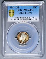 GEM 1942 D RPM FS 501 PCGS MS 66 FB EXQUISITE WINGED LIBERTY